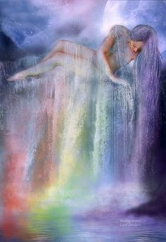 Healing Waters: Let the Chakra waters, Flow over and through you, Like a cleansing rainbow, In colors gentle and true, So loving you can feel it, Healing your body, mind and spirit. Prose by Carol Cavalaris © This healing artwork focuses on the Chakra energy centers and colors and features Chakra Energy Healer, Rosanne Reid.