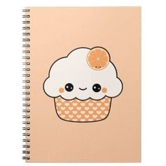 Kawaii Orange Cupcake Notebook