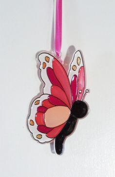 ORNAMENT - Butterfly - Acrylic - Pink - Red - White - Handpainted Home Decor