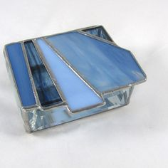 Navy Periwinkle and Pale Blue Stained Glass Box by JiSTglass, $45.00