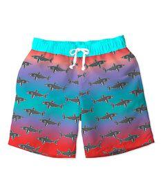 Turquoise & Red Shark Swim Trunks - Toddler & Boys