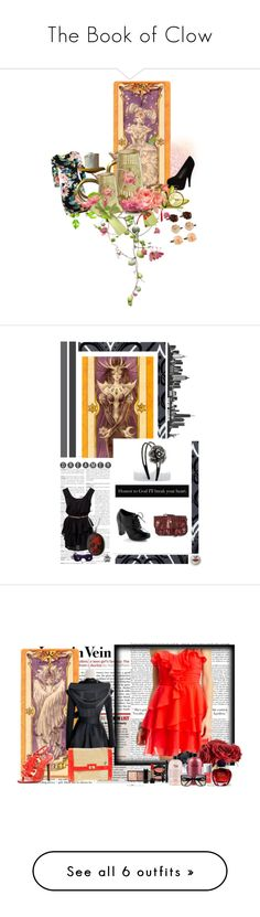 """""""The Book of Clow"""" by amine-syd ❤ liked on Polyvore featuring black high heels, floral hair clips, a floral dress, cardcaptors, cardcaptor sakura, Fornasetti, blue sunglasses, red necklace, red clutch and black dress"""