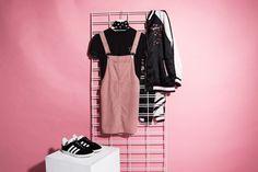 Dazy Daze Cord Pinafore $89.95 | #weekendedit #generalpants #ladiesflatlay #pinafore #festivaloutfit #streetwear #streetfashion #stussy #stussytribeaustralia #subtitledclothing #pinkpinafore #pinkflatlay
