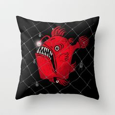 Angry Fish Throw Pillow by baba yagada - $20.00
