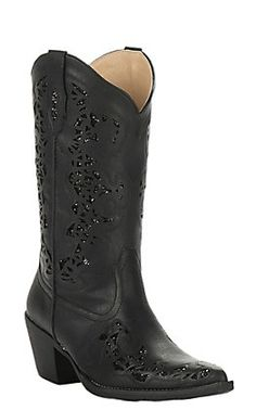 Roper Women's Black Faux Leather with Black Metallic Inlay Snip Toe Fashion Boot Cowgirl Boots, Western Boots, Black Faux Leather, Leather Boots, Leather Fashion, Fashion Boots, Cavenders Boots, Dress And Heels, Material Girls