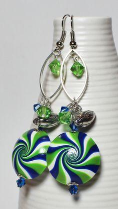 Seattle Seahawks...12th Man 12th Woman Handmade Earrings Jewelry Football NFL Green Blue Silver Crystal Polymer Clay Fanceethat, $25.00