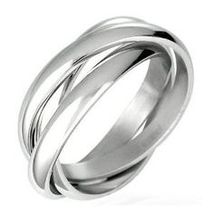 Triple Russian Interlocked Stainless Steel Men Unisex Wedding Band Rings size 11 (Jewelry)  mens wedding rings