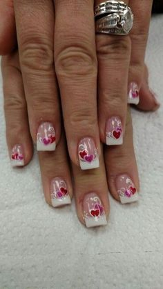 French with hearts nail design
