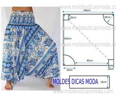 Hottest Photographs sewing pants harem Suggestions Calça saruel feminina molde e costura passo a passo Costura Fashion, Fashion Moda, Fashion Sewing, Diy Fashion, Dress Sewing Patterns, Clothing Patterns, Sarouel Pants, Women's Pants, Harem Pants Pattern
