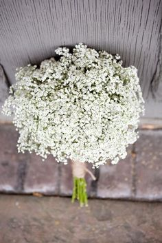 The bridesmaids will carry a bouquet of white baby's breath wrapped in emerald green velvet ribbon tied in a bow.