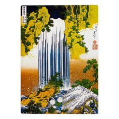 Cool oriental japanese Hokusai Waterfall art Plaques