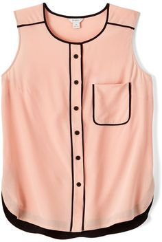 This blush pink and black sleeveless top would be perfect for spring and summer. Boys And Girls Clothes, Clothes For Women, Black Sleeveless Top, Cute Girl Outfits, Blouse And Skirt, Couture Tops, Beautiful Blouses, Haute Couture Fashion, Blouse Styles
