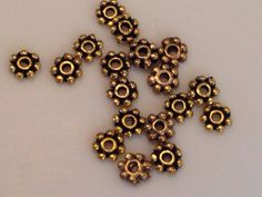Gold Dots Rondelle Beads by TheTurkeyAndTheFrog on Etsy
