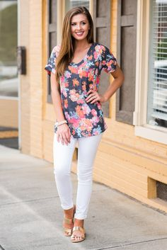 """Casual Sensation Top, Charcoal""This casual top is definitely a sensation! That floral print is fabulous! #newarrival #shopthemint"