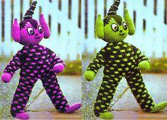PDF Vintage Alien Toy Knitting Pattern Teddy, Rag Doll, Elf, 'Man from Mars' Green Man Groovy Kitsch Retro Plush Kawaii Kids Child Doll Patterns, Vintage Patterns, Knitting Patterns, Crochet Patterns, Retro Toys, Vintage Toys, Knitting For Kids, Baby Knitting, Puppet Toys