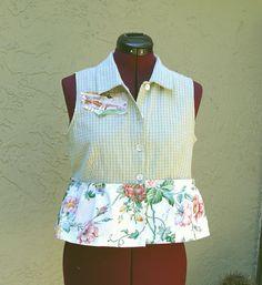 Peplum Vest  Eco Fashion UpCycled Cotton Shirt Medium by KheGreen