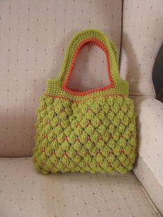 Crochet-Peachy Green Purse