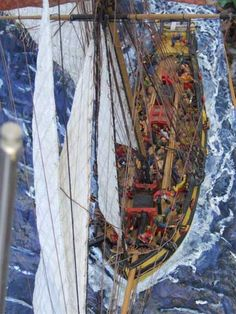 """""""Le Cotre corsaire le Renard"""", by Damien Féger Wooden Model Boats, Man Of War, Out To Sea, Tall Ships, Boat Building, Model Ships, Military, Painting, Star"""