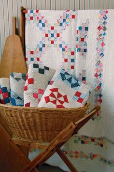 red white & blue vintage quilts, a little Chambray Rose by Rachel Ashwell would look lovely in this pattern #fabric #DIY