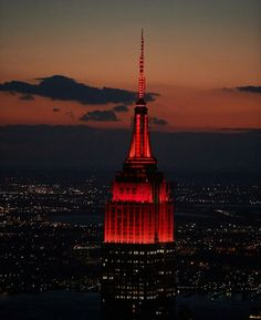 The #EmpireStateBuilding's lights will shine in red tonight to honor the first - ever @Tednews Talks in New York City.