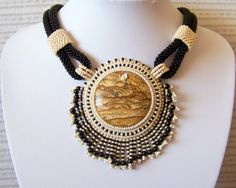 Mysterious Desert  Bead Embroidery Necklace with Owyhee by lutita, $120.00