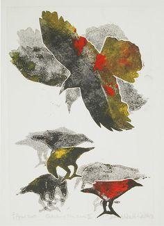 Catching the Sun III, by Canadian artist, Jennifer Waelti-Walters Bird Outline, Blackbirds, Paint Effects, Canadian Artists, Crows, Ravens, Fashion Designers, Color Splash, Fine Art Prints