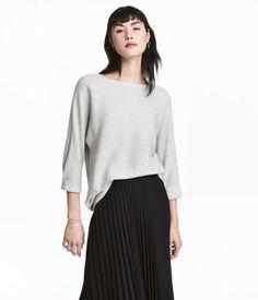 Ribbstickad tröja | Ljus gråmelerad | Dam | H&M SE
