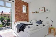 dormitorio ladrillo pared