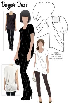 Clever pattern of fashionable drape top / style arc