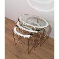 Suite 3 Nesting Tables Brass Trays Of Glass And Mirrors Argentés. Around 1960 750 Euros