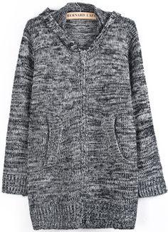 Grey Hooded Long Sleeve Pattern Pockets Sweater US$33.44
