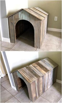 Now come to the requirement of pet if anyone has a dog in the home, pets also needs a place to live; so the pallets can be modified to build a dog house. This idea is simple and takes a few hours in completion, so it can be copied to show the love for the pet.