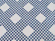 "Outstanding Antique c1880 Indigo Blue White Postage Stamp Quilt Large 85"" |  Vintageblessings"