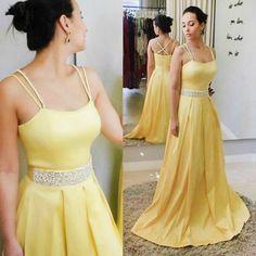 A-Line Spaghetti Straps Yellow Satin Prom Dress with Beading Belt