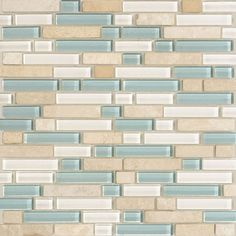 American Olean Legacy Glass - Arctic Glass Tile and Stone Blend - X Random Linear Strips Sticks Blend of: Pearl, Moonlight, Creme Mix Stone - DIY - Badezimmer Beach Theme Bathroom, Beach Bathrooms, Bathroom Colors, Small Bathroom, Beachy Bathroom Ideas, Beach Kitchens, Costal Bathroom, Beach Theme Kitchen, Bathroom Beadboard
