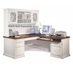 Love this L shaped desk and hutch. want this for craft corner