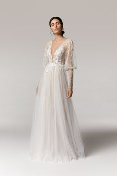 Wedding dress with sophisticated puffy sleeves finished with a long cuffs made of french lace.  #longsleeveweddingdress #annakara2021 Puffy Wedding Dresses, Wedding Dress With Feathers, Elegant Wedding Dress, Bridal Dresses, Bridesmaid Dresses, European Wedding, Bridal Separates, Bridal Boutique, Bridal Collection