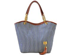 Large Blue and Cream Stripped Canvas Bag