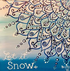 Snowflake blue glitter acrylic painting on canvas.