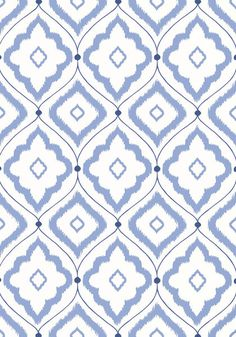 Bungalow #wallpaper in #blue from the Resort collection. #Thibaut