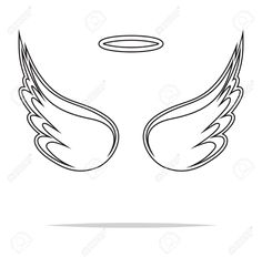 Illustration of Angel wings vector illustration vector art, clipart and stock vectors. Fallen Angel Wings, Baby Angel Wings, White Angel Wings, Angel Wings Art, Wing Tattoos On Wrist, Wing Tattoo Men, Tribal Tattoo Designs, Baby Tattoos, Small Tattoos