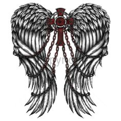 14x16  - WINGS - CROSS & CHAINS - chains, Cross, Gothic, Plastisol Transfer, wings, Gothic, Young Adult