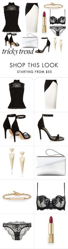 """High-neck blouse; black&white"" by fashion-freaks ❤ liked on Polyvore featuring Karen Millen, Victoria Beckham, Isabel Marant, Marni, Hoorsenbuhs, La Perla, Dolce&Gabbana, women's clothing, women's fashion and women"