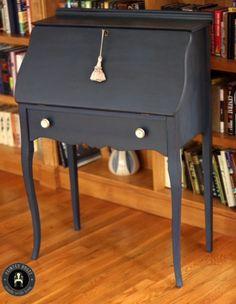 Navy Blue Secretary Desk. Annie Sloan Chalk Paint.