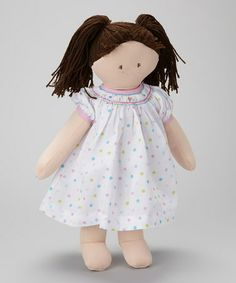 Take a look at this Brown-Haired White Polka Dot Dress Doll by Petit Pomme on #zulily today!