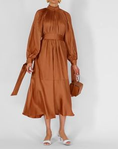 Tibi's Edwardian dress captures the label's pared-back approach to femininity with a sweeping midi length and pleated panels across the bodice. Tibi Dresses, Dress Outfits, Short Dresses, Dress Shoes, Shoes Heels, Hijab Fashion, Fashion Dresses, Black Midi, Silk Midi Dress