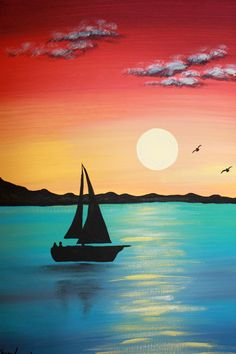 beautiful easy landscape painting with sunset and sail boat silhouette via PicturesqueFolkart