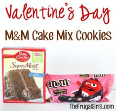 Valentine's Day M&M Cake Mix Cookies Recipe! ~ from TheFrugalG ~ just 4 ingredients and you've got yourself some delicious cookies to share some love this Valentine's Day! Cake Mix Cookie Recipes, Cake Mix Cookies, Best Cookie Recipes, Yummy Cookies, Cake Recipes, Sandwich Cookies, Shortbread Cookies, Cupcakes, Chocolate Cake Mixes