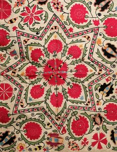 antique uzbek suzani, central asian ethnic textiles, silk embroidery, 19th c,