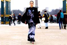 Mary Katrantzou Street Style: Sofia Sanchez wears Autumn Winter 2013 at Paris Fashion Week.